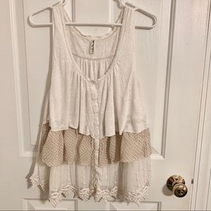 Vintage Free People Babydoll Tiered Tank with Lace